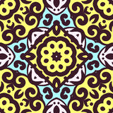 Vector seamless pattern with bright ornament. Tile in Eastern style. Royalty Free Stock Images