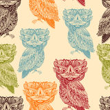 Vector Seamless Pattern with Bright  Owls Stock Image
