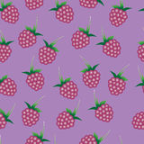 Vector seamless pattern with bright pink raspberries. Royalty Free Stock Photos