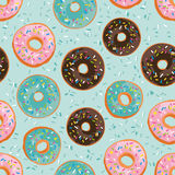 Vector seamless pattern with bright sweet donuts. Stock Images