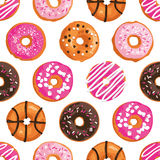 Vector seamless pattern with bright sweet donuts. Stock Image