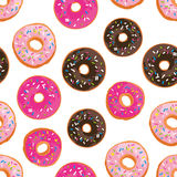 Vector seamless pattern with bright sweet donuts. Royalty Free Stock Photos