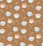 Vector pattern of tea and coffee mugs with plant elements. Illustration on brown background. Vector seamless pattern on brown background. Mugs of a cup with Stock Photography