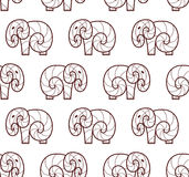 Vector seamless pattern of brown line art elephant Royalty Free Stock Images