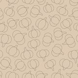 Vector seamless pattern with brown pumpkins outline on the beige background. Pastel autumn ornament Stock Photography