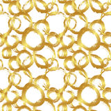 Vector seamless pattern with brush circles and strokes. Gold gradient color on white background. Hand painted grange Stock Photo
