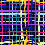 Vector seamless pattern brush cross and cell. yellow blue pink color on black background. Hand painted grange texture Royalty Free Stock Images