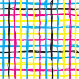 Vector seamless pattern brush cross and cell. yellow blue pink color on white background. Hand painted grange texture Royalty Free Stock Image