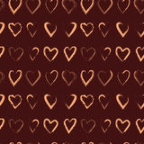 Vector seamless pattern with brush hearts Royalty Free Stock Photography