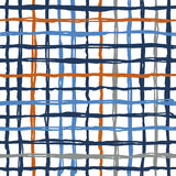 Vector seamless pattern brush stripes plaid. Blue orange color on white background. Hand painted grange texture. Ink Stock Photo
