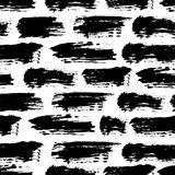 Vector seamless pattern with brush stripes and strokes. Black color on white background. Hand painted grange texture. Ink geometric elements. Fashion modern vector illustration