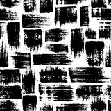 Vector seamless pattern with brush stripes and strokes. Black color on white background. Hand painted grange texture. Ink geometric elements. Fashion modern stock illustration