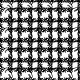 Vector seamless pattern with brush stripes and strokes. Black color on white background. Hand painted plaid texture. Ink. Geometric elements. Fashion modern Stock Illustration