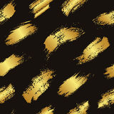 Vector seamless pattern with brush stripes and strokes. Gold gradient color on dark background. Hand painted grange Stock Photo