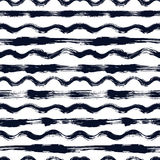 Vector seamless pattern with brush stripes and waves. Black color on white background. Hand painted grange texture. Ink. Geometric elements. Fashion modern stock illustration