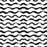 Vector seamless pattern with brush stripes and waves. Black color on white background. Hand painted grange texture. Ink. Geometric elements. Fashion modern vector illustration