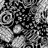 Vector seamless pattern with brush strokes and dots. White color on black background. Hand painted grange texture. Ink Royalty Free Stock Image