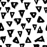Vector seamless pattern with brush triangles Black color on white background. Hand painted grange texture. Ink geometric. Elements. Fashion modern style royalty free illustration