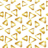 Vector seamless pattern with brush triangles Gold gradient color on white background. Hand painted grange texture. Ink Stock Photos