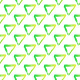 Vector seamless pattern with brush triangles Yellow green gradient color on white background. Hand painted grange. Texture. Ink geometric elements. Fashion Royalty Free Stock Image