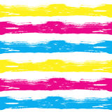 Vector seamless pattern brush waves and lines. yellow blue pink color on white background. Hand painted grange texture Stock Photos