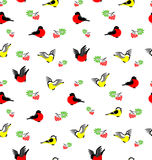 Vector seamless pattern with bullfinches, tites and rowanberries. Winter background Vector Illustration