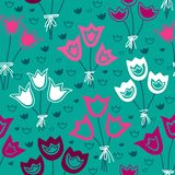 Vector seamless pattern with bunches of tulips on a dark background. Endless background. Vector backdrop. Stock Images