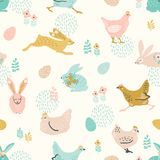 Vector seamless pattern with bunnies and chicken for Easter and other users. Stock Image