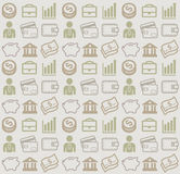 Vector seamless pattern with business and money icons. Vector image consisting of finance icons for use as a background pattern Royalty Free Stock Photos