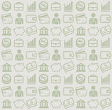 Vector seamless pattern with business and money icons. Vector image consisting of finance icons for use as a background pattern Stock Photos
