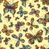Vector seamless pattern of butterflies. Colourful butterflies on light background Stock Photo