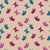 Vector seamless pattern with butterflies. Retro seamless pattern with butterflies. Vintage design in violet colors. Background in flat style. Vector Stock Photography