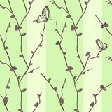 Vector seamless pattern with butterflies on sakura Royalty Free Stock Photos