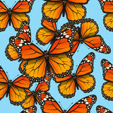 Vector seamless pattern with butterflies. Trendy summer background for fabric, cover, clothing. Royalty Free Stock Photography