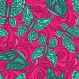 Vector seamless pattern with butterfly and roses Stock Images