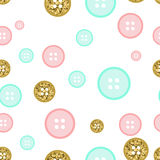 Vector seamless pattern buttons. Blue, pink and gold color. Wrapping paper, background blog or website page children`s album Royalty Free Stock Photo