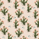 Vector seamless pattern with cacti and skulls in desert. stock illustration