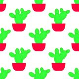 Vector seamless pattern with cactus. Bright repeated texture with green cactus in flower pot stock illustration