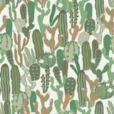 Vector seamless pattern with cactus. Repeated texture with green cacti. Royalty Free Stock Images