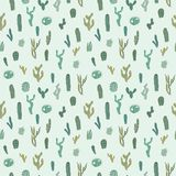 Vector seamless pattern with cactus. Repeated texture with green cacti. Royalty Free Stock Image