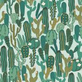 Vector seamless pattern with cactus. Repeated texture with green cacti. Stock Image