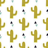 Vector seamless pattern with cactuses and triangles Royalty Free Stock Image
