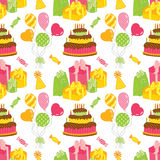 Vector Seamless Pattern with Cake, Balloons, Sweets and Gift Boxes. Vector seamless pattern with cake, candles, balloons, sweets and gift boxes on white Royalty Free Stock Photography