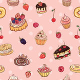 Vector seamless pattern with cakes, pastries Stock Photo