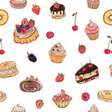 Vector seamless pattern with cakes, pastries Stock Image