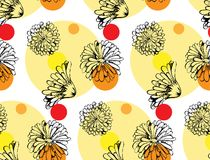 Vector seamless pattern from calendula flowers Royalty Free Stock Image