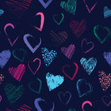 Vector seamless pattern with calligraphic brush hearts Royalty Free Stock Photography