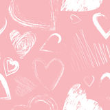 Vector seamless pattern with calligraphic brush hearts Royalty Free Stock Images