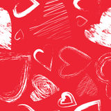 Vector seamless pattern with calligraphic brush hearts Stock Image