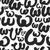 Vector Seamless Pattern with Calligraphy Letters W Stock Photography